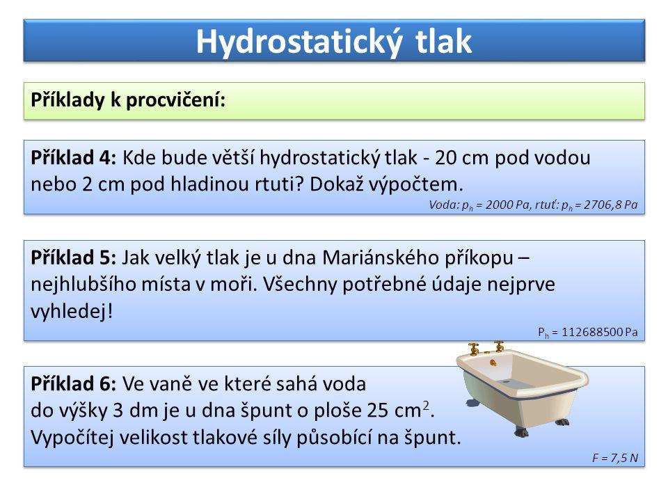 Hydrostatický tlak Příklady k procvičení: Příklad 5: Jak velký tlak je u dna Mariánského příkopu – nejhlubšího místa v moři. Všechny potřebné údaje ne