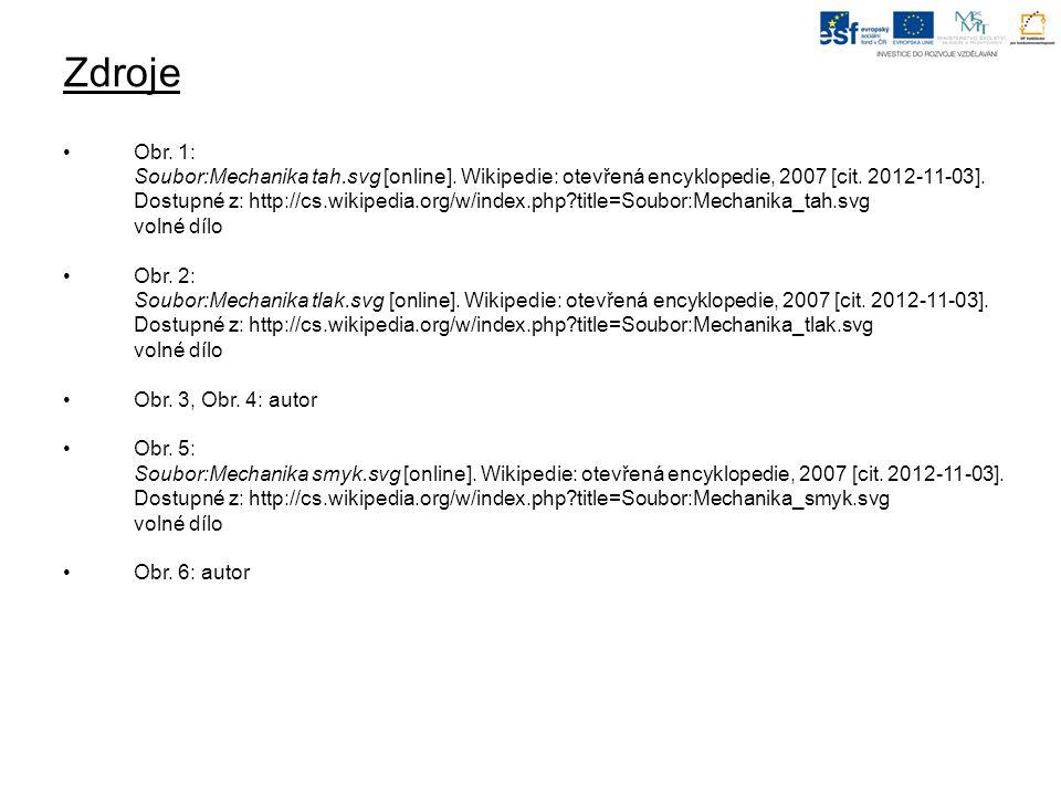Zdroje Obr. 1: Soubor:Mechanika tah.svg [online]. Wikipedie: otevřená encyklopedie, 2007 [cit. 2012-11-03]. Dostupné z: http://cs.wikipedia.org/w/inde