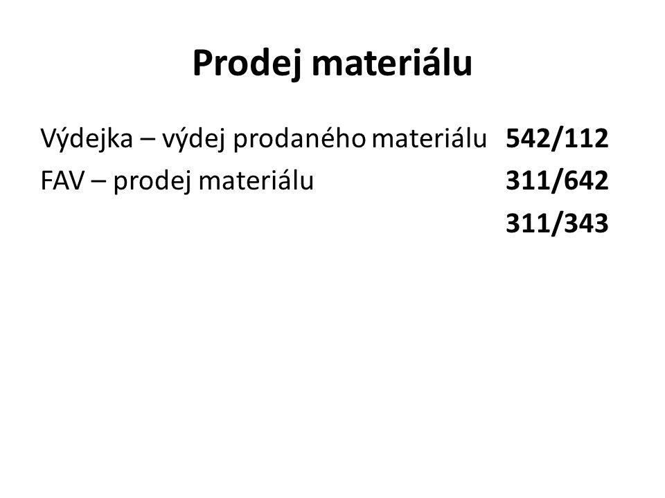 Prodej materiálu Výdejka – výdej prodaného materiálu542/112 FAV – prodej materiálu311/642 311/343