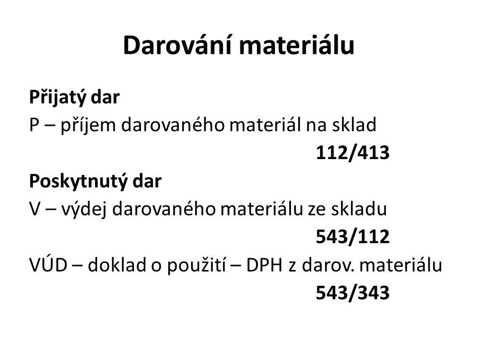 Darování materiálu Přijatý dar P – příjem darovaného materiál na sklad 112/413 Poskytnutý dar V – výdej darovaného materiálu ze skladu 543/112 VÚD – doklad o použití – DPH z darov.
