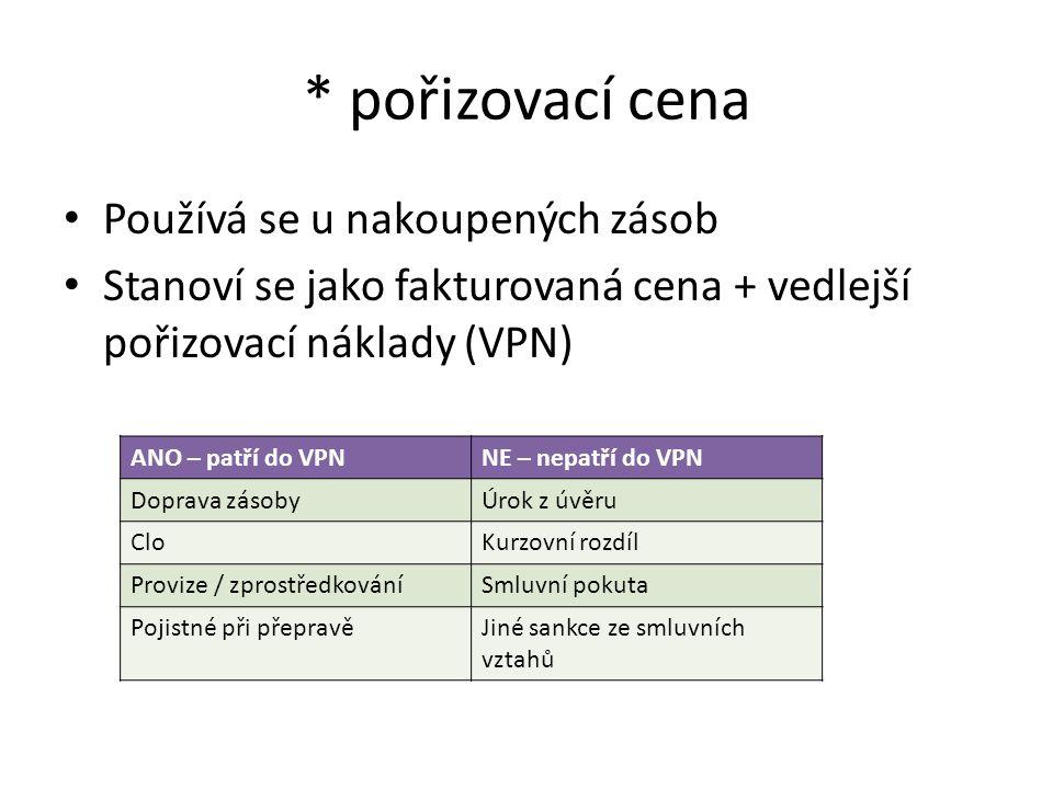 * pořizovací cena Používá se u nakoupených zásob Stanoví se jako fakturovaná cena + vedlejší pořizovací náklady (VPN) ANO – patří do VPNNE – nepatří do VPN Doprava zásobyÚrok z úvěru CloKurzovní rozdíl Provize / zprostředkováníSmluvní pokuta Pojistné při přepravěJiné sankce ze smluvních vztahů