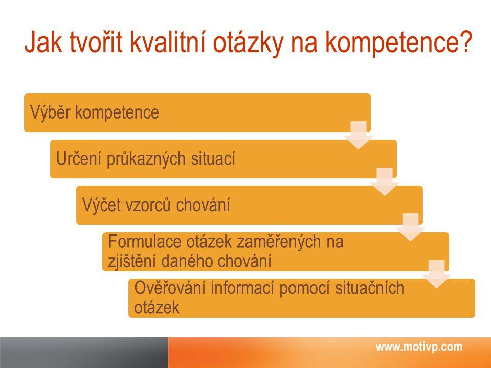 Jak tvořit kvalitní otázky na kompetence? Výběr kompetenceUrčení průkazných situacíVýčet vzorců chování Formulace otázek zaměřených na zjištění daného