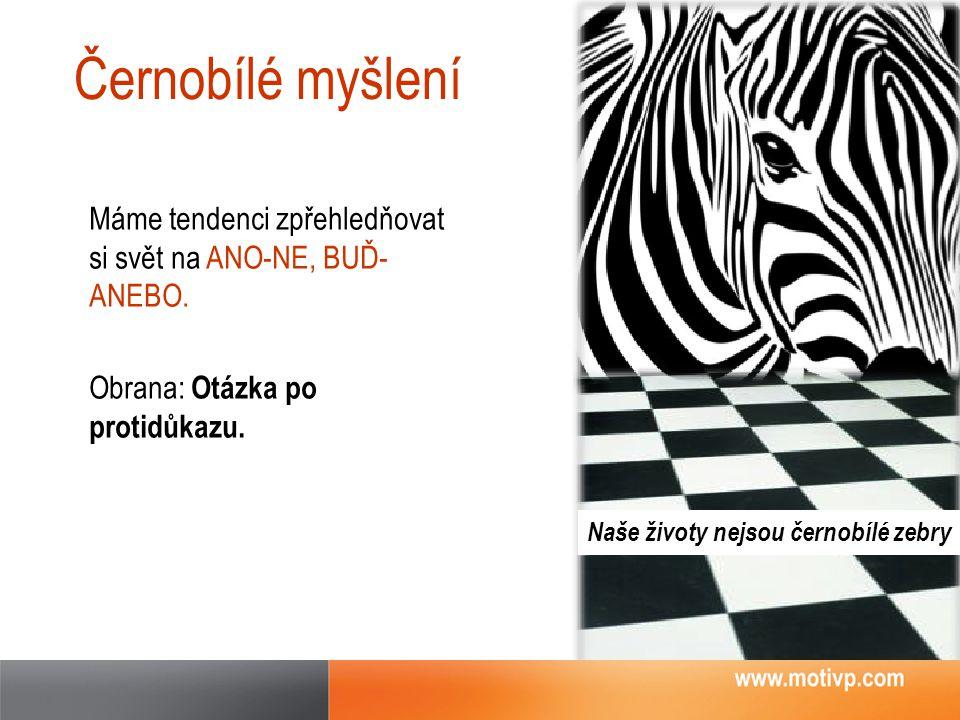 Černobílé myšlení Máme tendenci zpřehledňovat si svět na ANO-NE, BUĎ- ANEBO. Obrana: Otázka po protidůkazu. Naše životy nejsou černobílé zebry