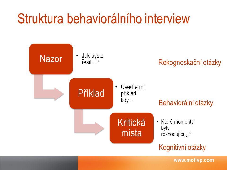 Struktura behaviorálního interview Názor Jak byste řešil…? Příklad Uveďte mi příklad, kdy… Kritická místa Které momenty byly rozhodující,,,? Behaviorá