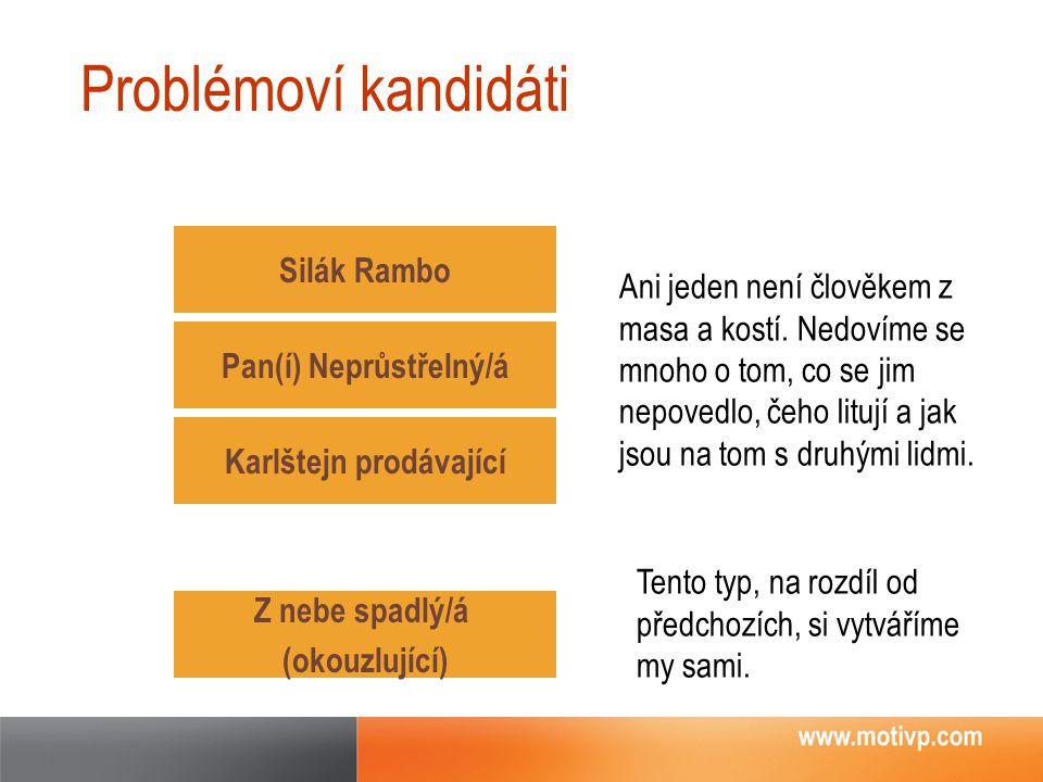 Problémoví kandidáti Silák Rambo Pan(í) Neprůstřelný/á Z nebe spadlý/á (okouzlující) Karlštejn prodávající Ani jeden není člověkem z masa a kostí. Ned
