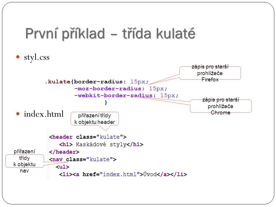 První příklad – třída kulaté styl.css index.html zápis pro starší prohlížeče Firefox zápis pro starší prohlížeče Chrome přiřazení třídy k objektu header přiřazení třídy k objektu nav