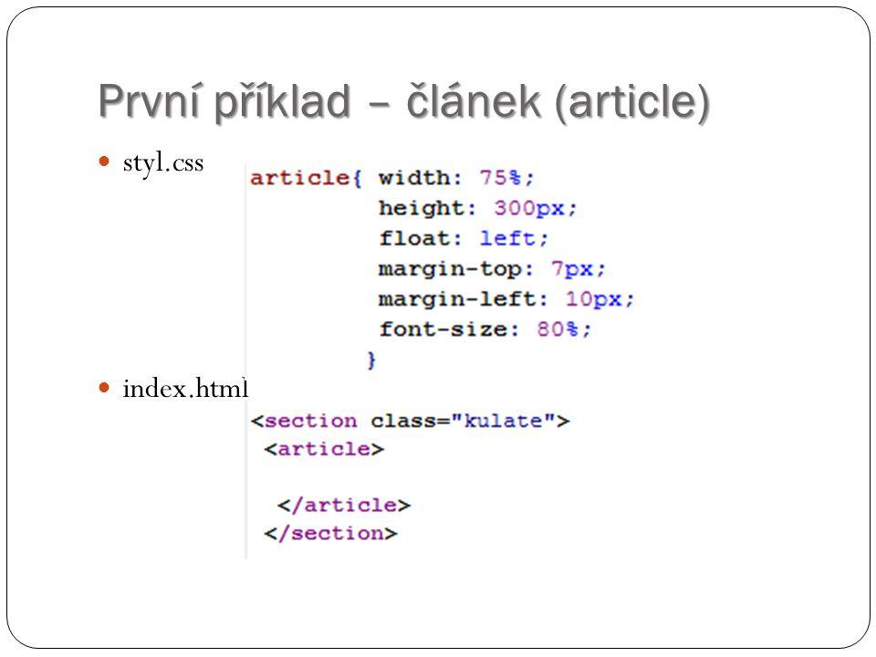 První příklad – článek (article) styl.css index.html