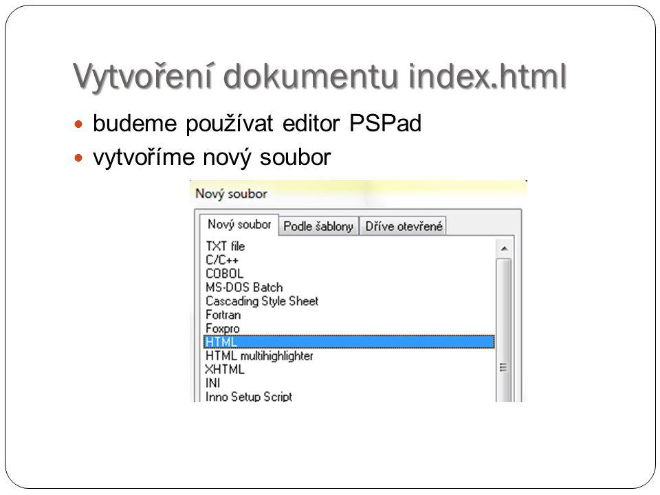 Vytvoření dokumentu index.html v hlavičce souboru připojíme soubor styl.css