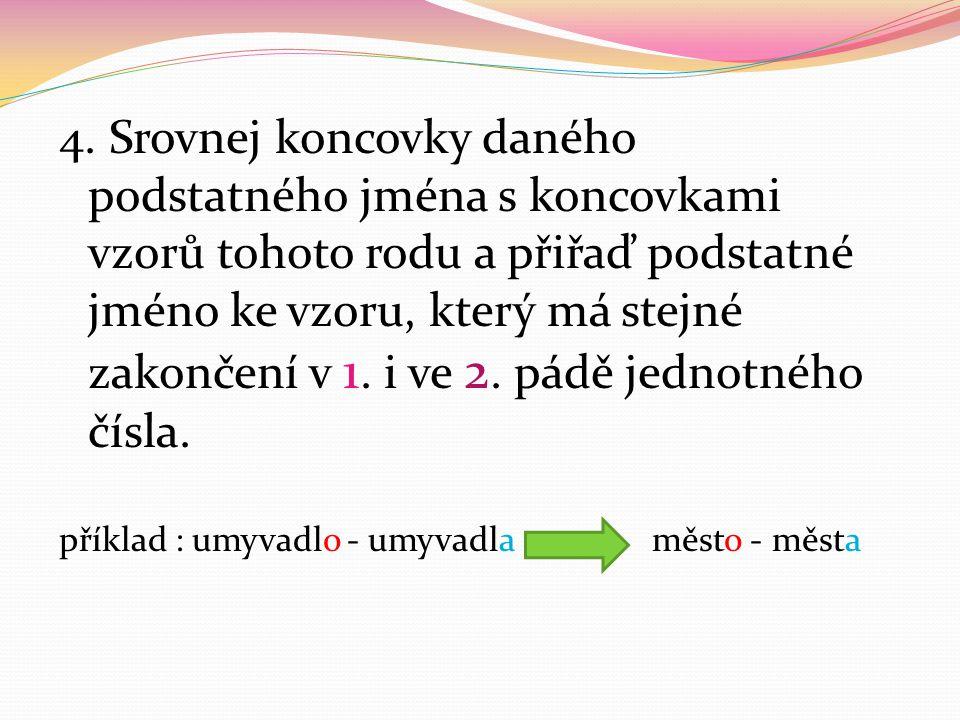 4. Srovnej koncovky daného podstatného jména s koncovkami vzorů tohoto rodu a přiřaď podstatné jméno ke vzoru, který má stejné zakončení v 1. i ve 2.