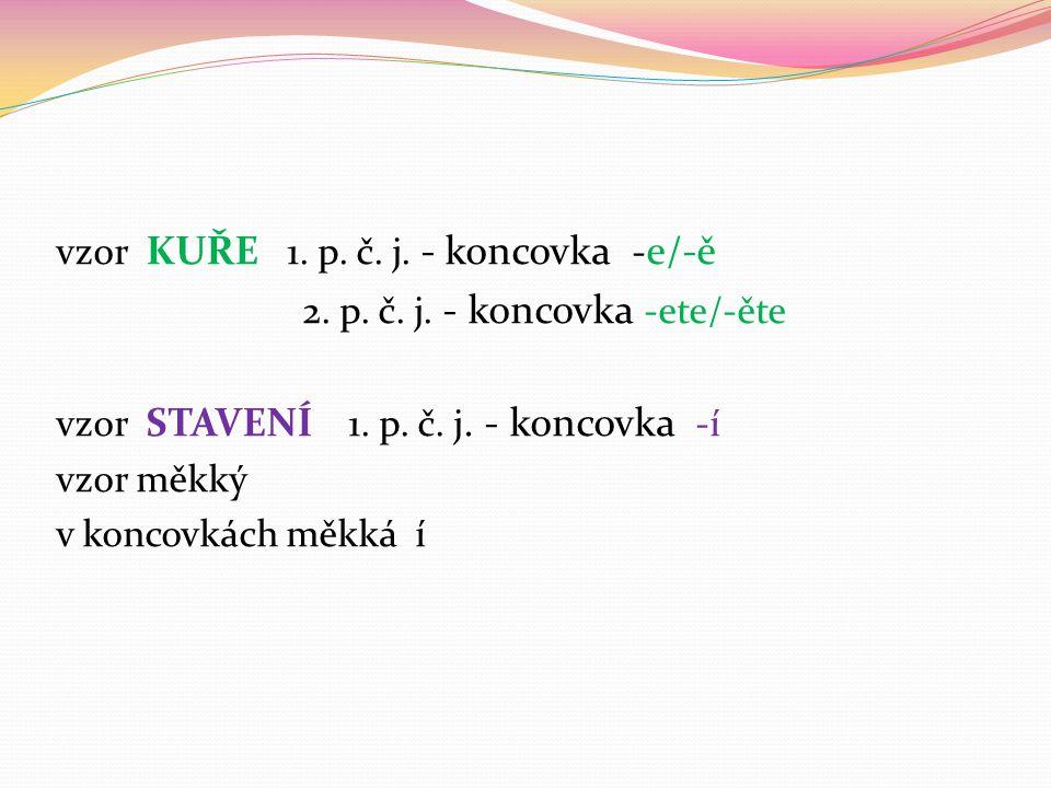 vzor KUŘE 1. p. č. j. - koncovka - e/-ě 2. p.
