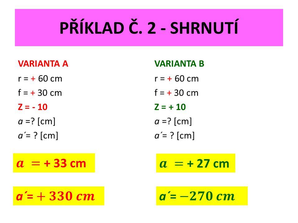 PŘÍKLAD Č. 2 - SHRNUTÍ VARIANTA A r = + 60 cm f = + 30 cm Z = - 10 a =.