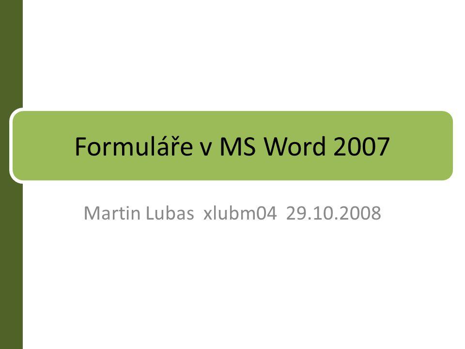 Formuláře v MS Word 2007 Martin Lubas xlubm04 29.10.2008