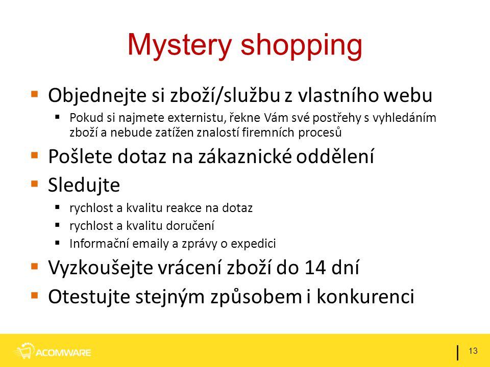 Mystery shopping  Objednejte si zboží/službu z vlastního webu  Pokud si najmete externistu, řekne Vám své postřehy s vyhledáním zboží a nebude zatíž