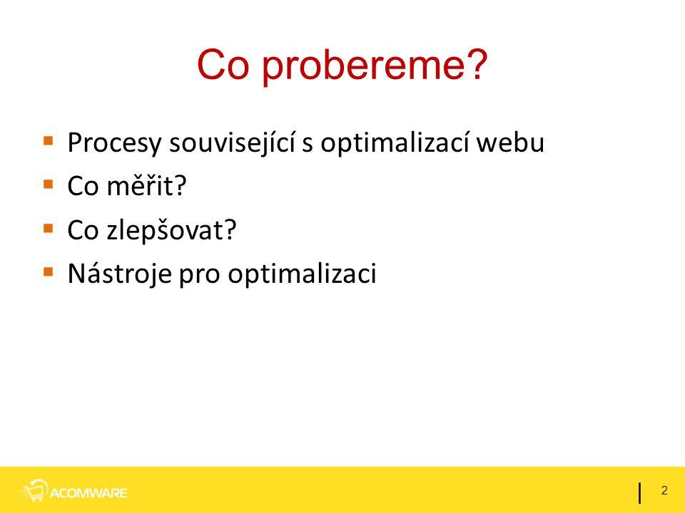 Co probereme?  Procesy související s optimalizací webu  Co měřit?  Co zlepšovat?  Nástroje pro optimalizaci 2 |