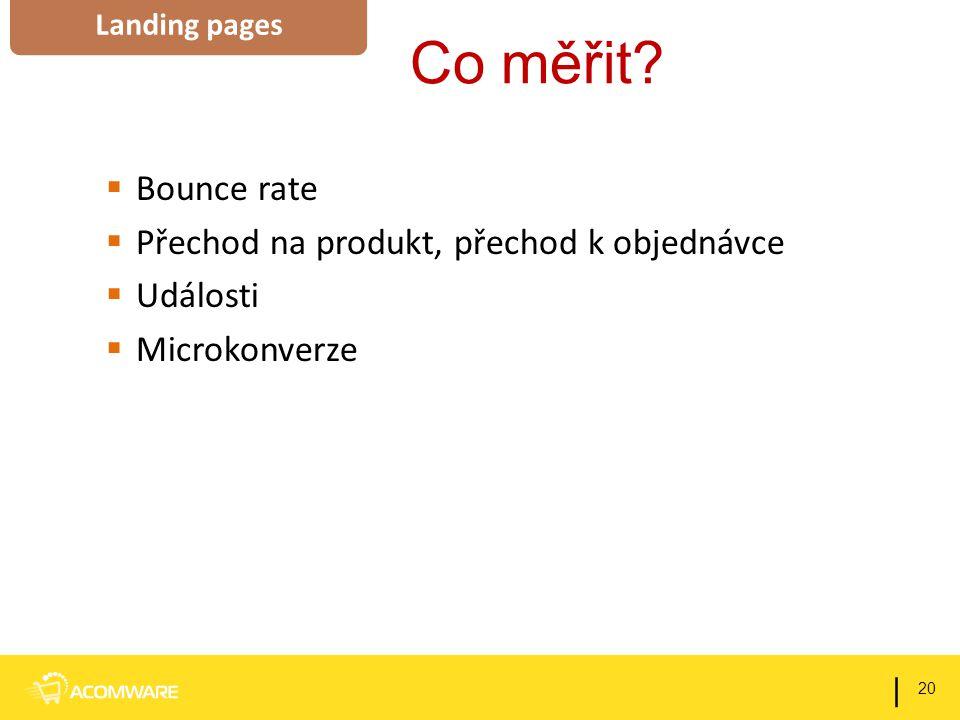 Co měřit?  Bounce rate  Přechod na produkt, přechod k objednávce  Události  Microkonverze 20 | Landing pages