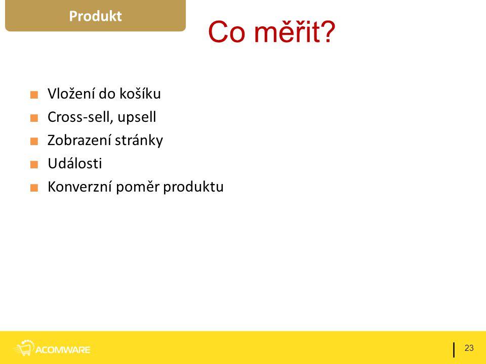 Co měřit? ■ Vložení do košíku ■ Cross-sell, upsell ■ Zobrazení stránky ■ Události ■ Konverzní poměr produktu 23 | Produkt