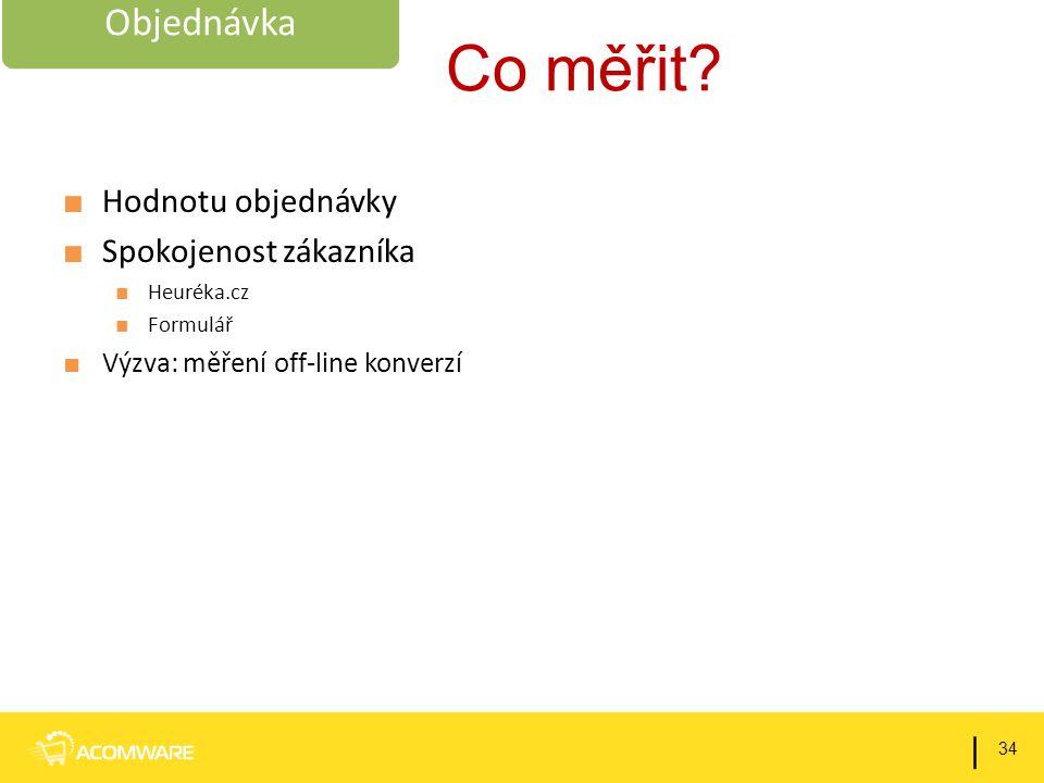 Co měřit? ■ Hodnotu objednávky ■ Spokojenost zákazníka ■ Heuréka.cz ■ Formulář ■ Výzva: měření off-line konverzí 34 | Objednávka