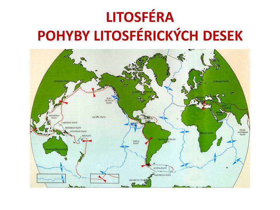 DRUHY POHYBU (HRANICE MEZI DESKAMI) A)Desky se vzdalují = vzniká nová zemská kůra Konkrétní příklad: Středoatlantský hřbet, Island