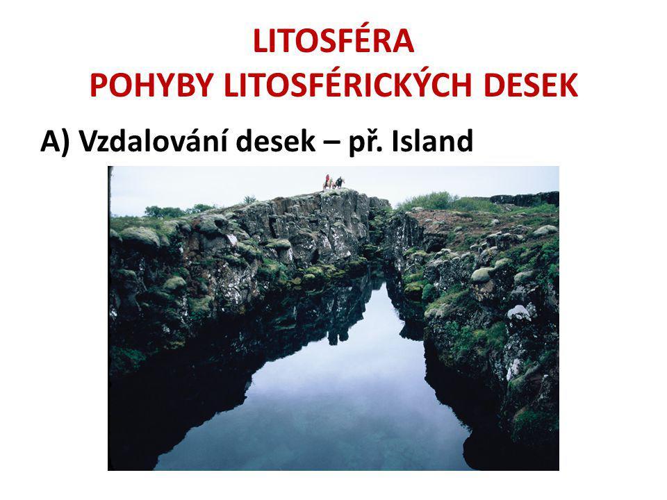LITOSFÉRA POHYBY LITOSFÉRICKÝCH DESEK A) Vzdalování desek – př. Island
