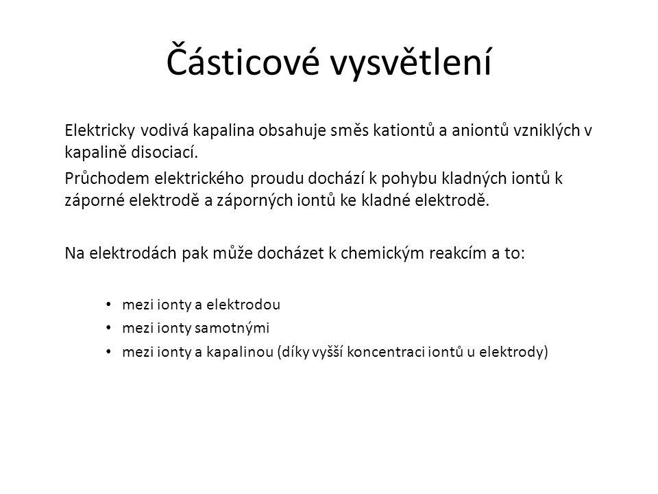 Částicové vysvětlení Elektricky vodivá kapalina obsahuje směs kationtů a aniontů vzniklých v kapalině disociací. Průchodem elektrického proudu dochází