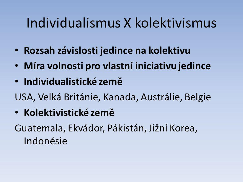 Individualismus X kolektivismus Rozsah závislosti jedince na kolektivu Míra volnosti pro vlastní iniciativu jedince Individualistické země USA, Velká Británie, Kanada, Austrálie, Belgie Kolektivistické země Guatemala, Ekvádor, Pákistán, Jižní Korea, Indonésie