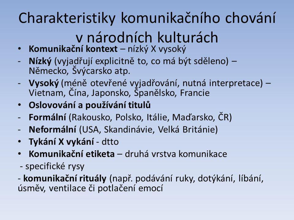 Charakteristiky komunikačního chování v národních kulturách Komunikační kontext – nízký X vysoký -Nízký (vyjadřují explicitně to, co má být sděleno) – Německo, Švýcarsko atp.