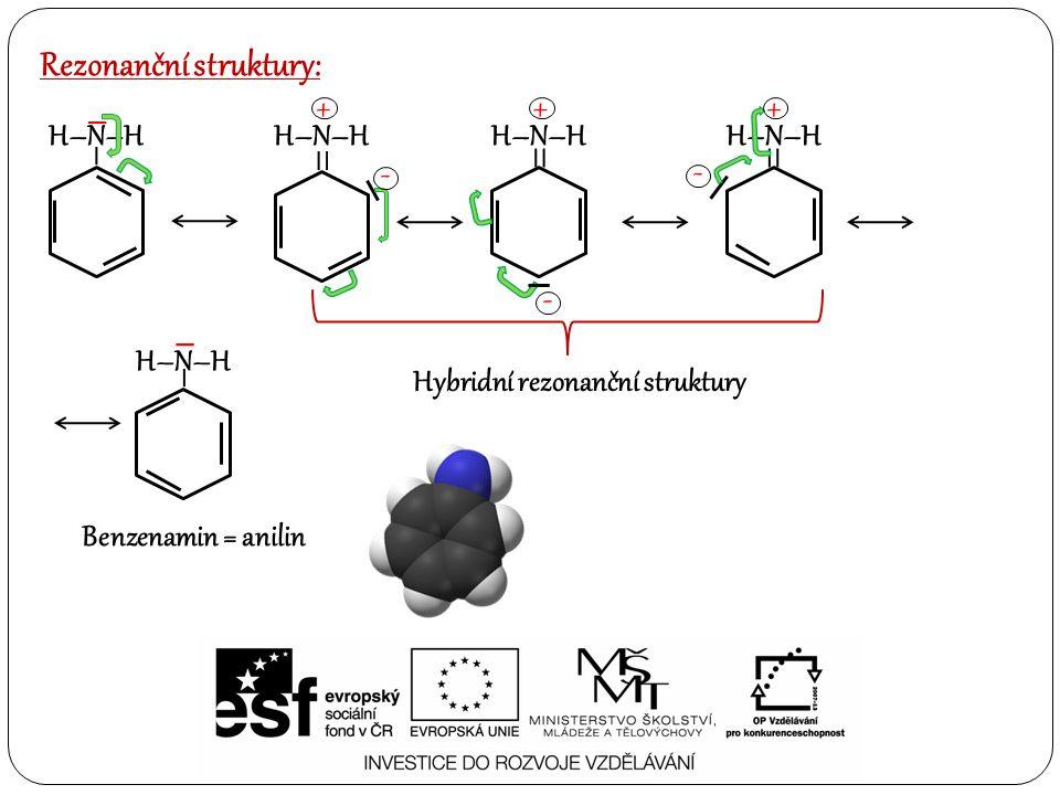 = Rezonanční struktury: – H–N–H – = + - = - + - + – – Benzenamin = anilin Hybridní rezonanční struktury