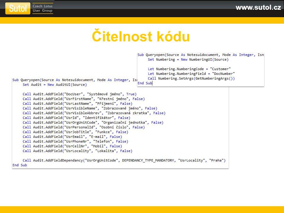 www.sutol.cz Čitelnost kódu