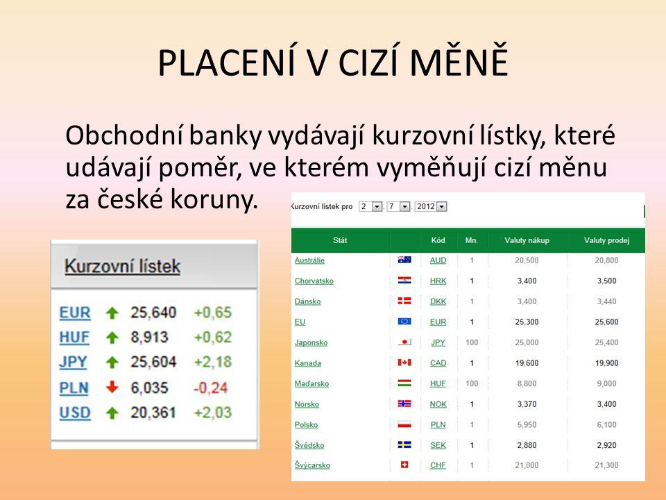 PLACENÍ V CIZÍ MĚNĚ Obchodní banky vydávají kurzovní lístky, které udávají poměr, ve kterém vyměňují cizí měnu za české koruny.