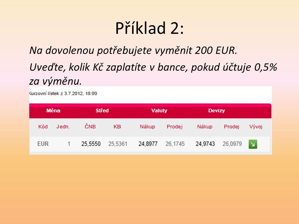 Příklad 2: Na dovolenou potřebujete vyměnit 200 EUR.