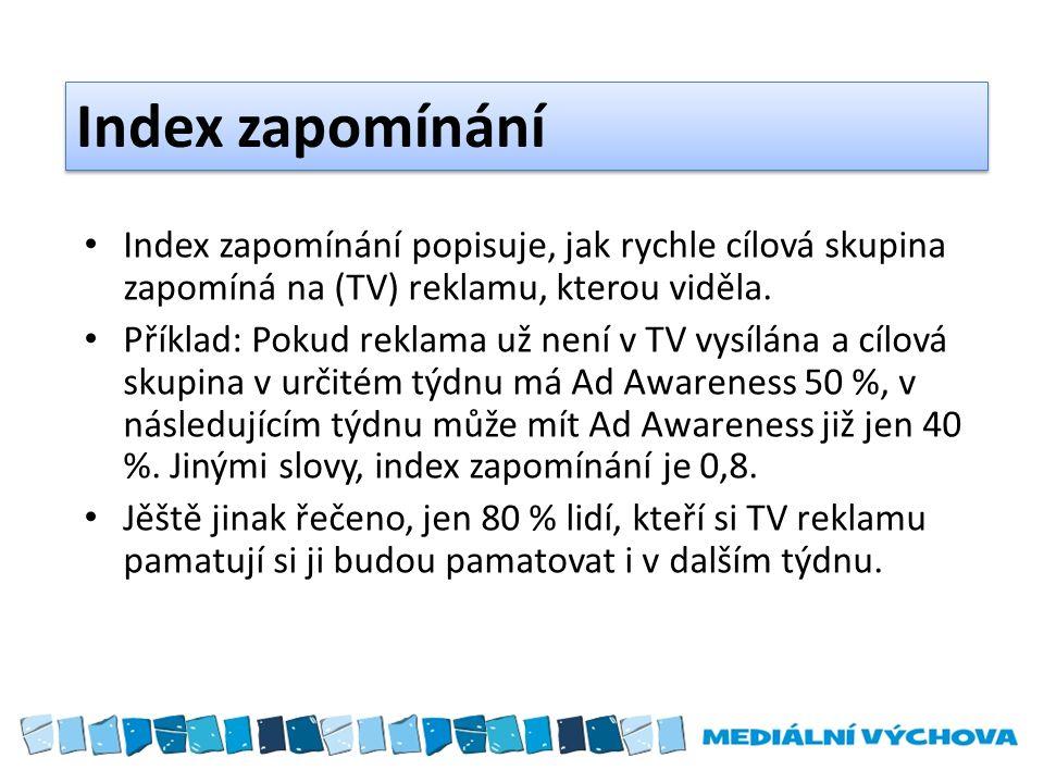 Index zapomínání Index zapomínání popisuje, jak rychle cílová skupina zapomíná na (TV) reklamu, kterou viděla.