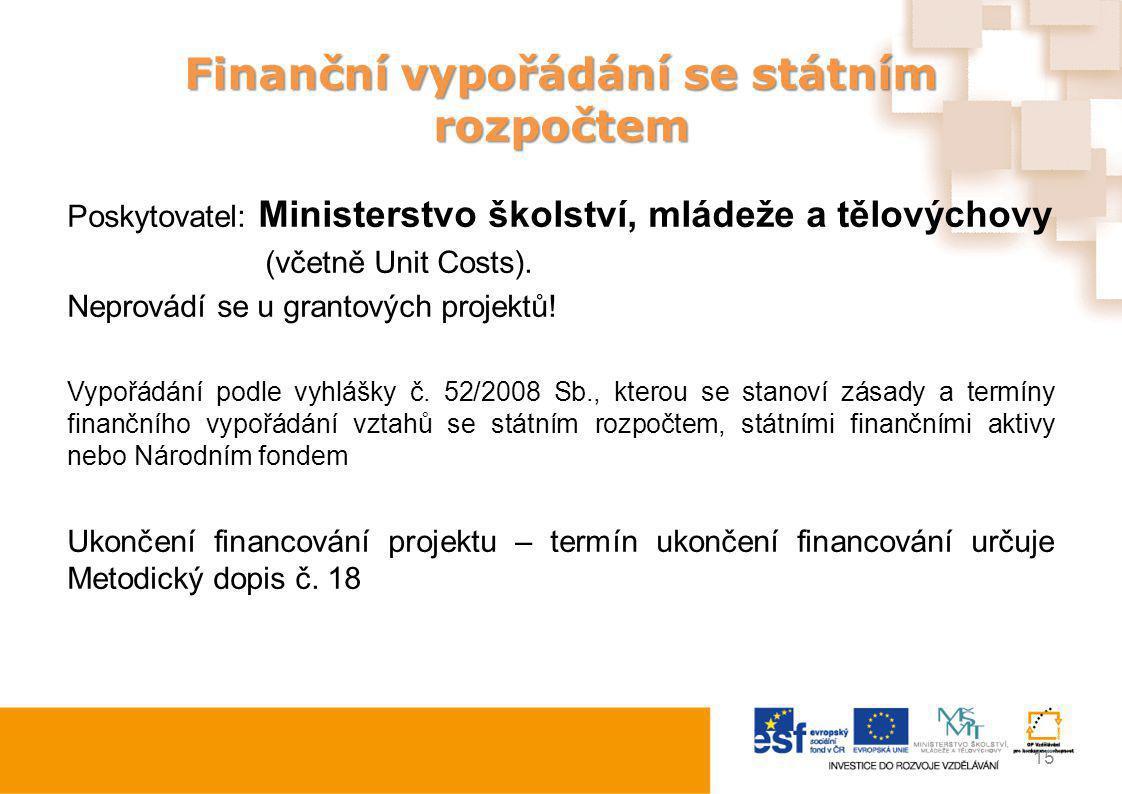 Finanční vypořádání se státním rozpočtem Poskytovatel: Ministerstvo školství, mládeže a tělovýchovy (včetně Unit Costs). Neprovádí se u grantových pro