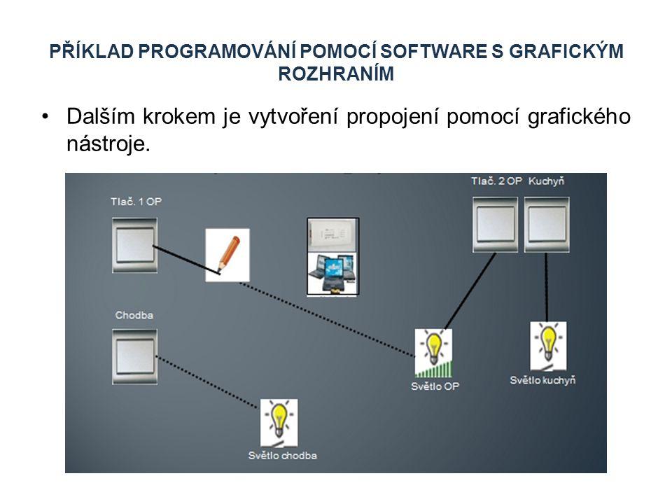 PŘÍKLAD PROGRAMOVÁNÍ POMOCÍ SOFTWARE S GRAFICKÝM ROZHRANÍM Dalším krokem je vytvoření propojení pomocí grafického nástroje.