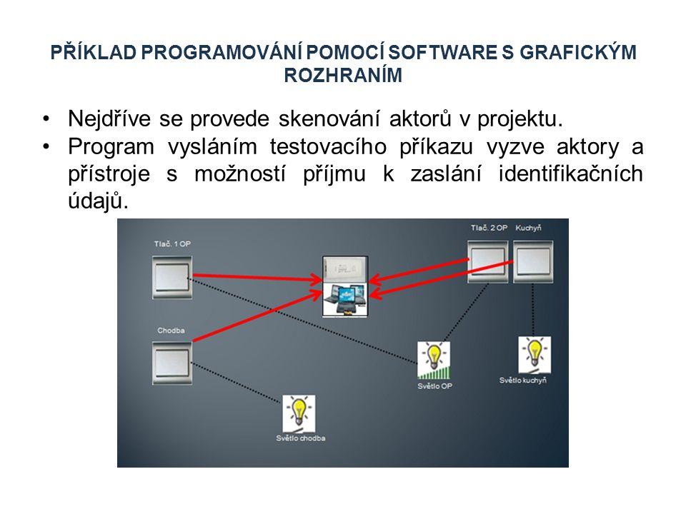 PŘÍKLAD PROGRAMOVÁNÍ POMOCÍ SOFTWARE S GRAFICKÝM ROZHRANÍM Nejdříve se provede skenování aktorů v projektu. Program vysláním testovacího příkazu vyzve