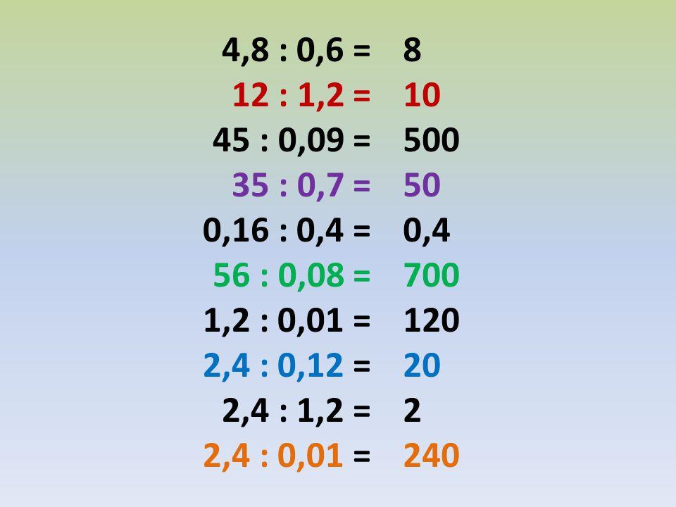 4,8 : 0,6 = 12 : 1,2 = 45 : 0,09 = 35 : 0,7 = 0,16 : 0,4 = 56 : 0,08 = 1,2 : 0,01 = 2,4 : 0,12 = 2,4 : 1,2 = 2,4 : 0,01 = 8 10 500 50 0,4 700 120 20 2