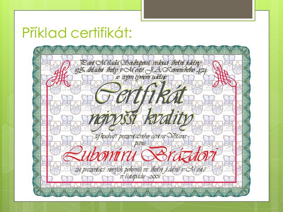 Příklad certifikát: