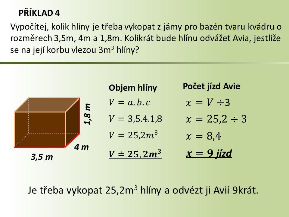 PŘÍKLAD 4 3,5 m Objem hlíny Počet jízd Avie Vypočítej, kolik hlíny je třeba vykopat z jámy pro bazén tvaru kvádru o rozměrech 3,5m, 4m a 1,8m. Kolikrá