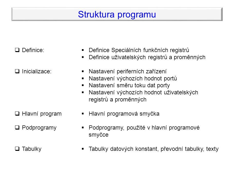 Struktura programu  Definice:  Inicializace:  Hlavní program  Podprogramy  Tabulky  Definice Speciálních funkčních registrů  Definice uživatelských registrů a proměnných  Nastavení periferních zařízení  Nastavení výchozích hodnot portů  Nastavení směru toku dat porty  Nastavení výchozích hodnot uživatelských registrů a proměnných  Hlavní programová smyčka  Podprogramy, použité v hlavní programové smyčce  Tabulky datových konstant, převodní tabulky, texty