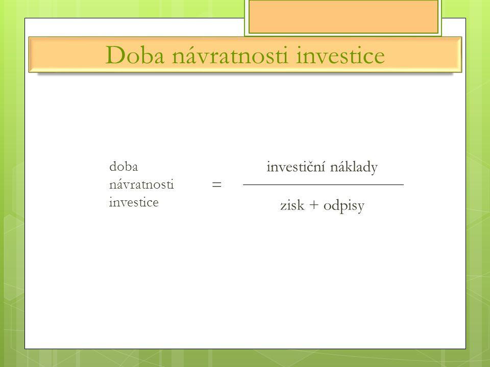 Doba návratnosti investice doba návratnosti investice = investiční náklady zisk + odpisy