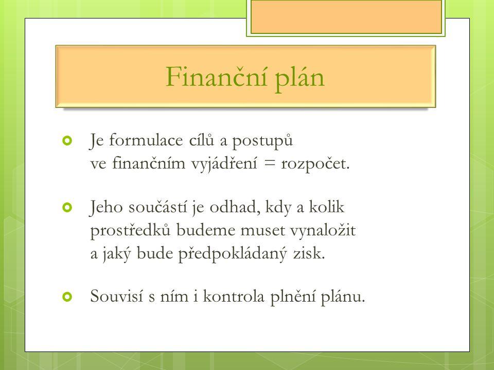 Finanční plán  Je formulace cílů a postupů ve finančním vyjádření = rozpočet.  Jeho součástí je odhad, kdy a kolik prostředků budeme muset vynaložit