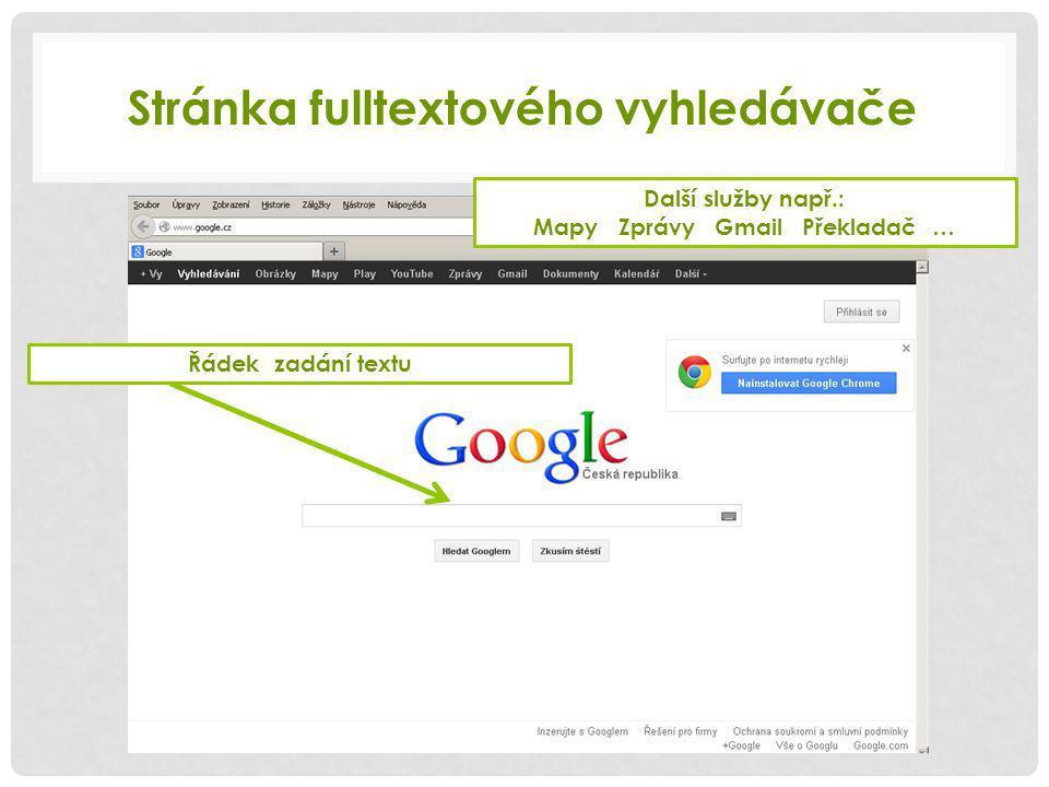 Stránka fulltextového vyhledávače Další služby např.: Mapy Zprávy Gmail Překladač … Řádek zadání textu