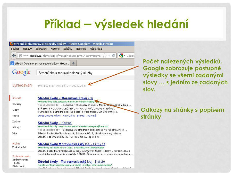 Příklad – výsledek hledání Odkazy na stránky s popisem stránky Počet nalezených výsledků.