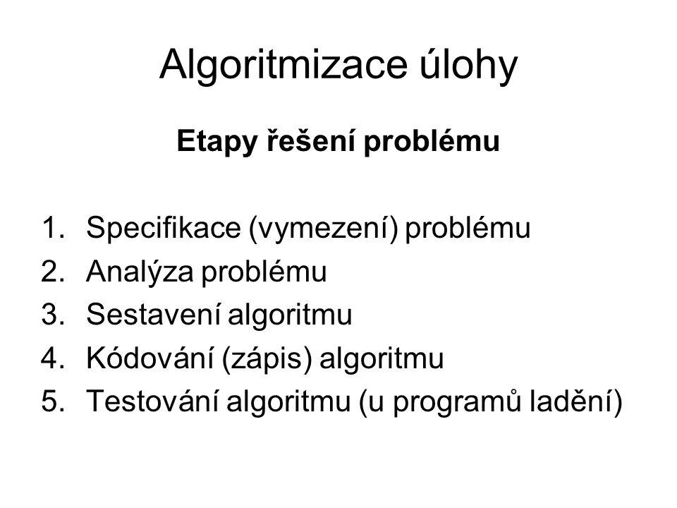 Etapy řešení problému 1.Specifikace (vymezení) problému 2.Analýza problému 3.Sestavení algoritmu 4.Kódování (zápis) algoritmu 5.Testování algoritmu (u