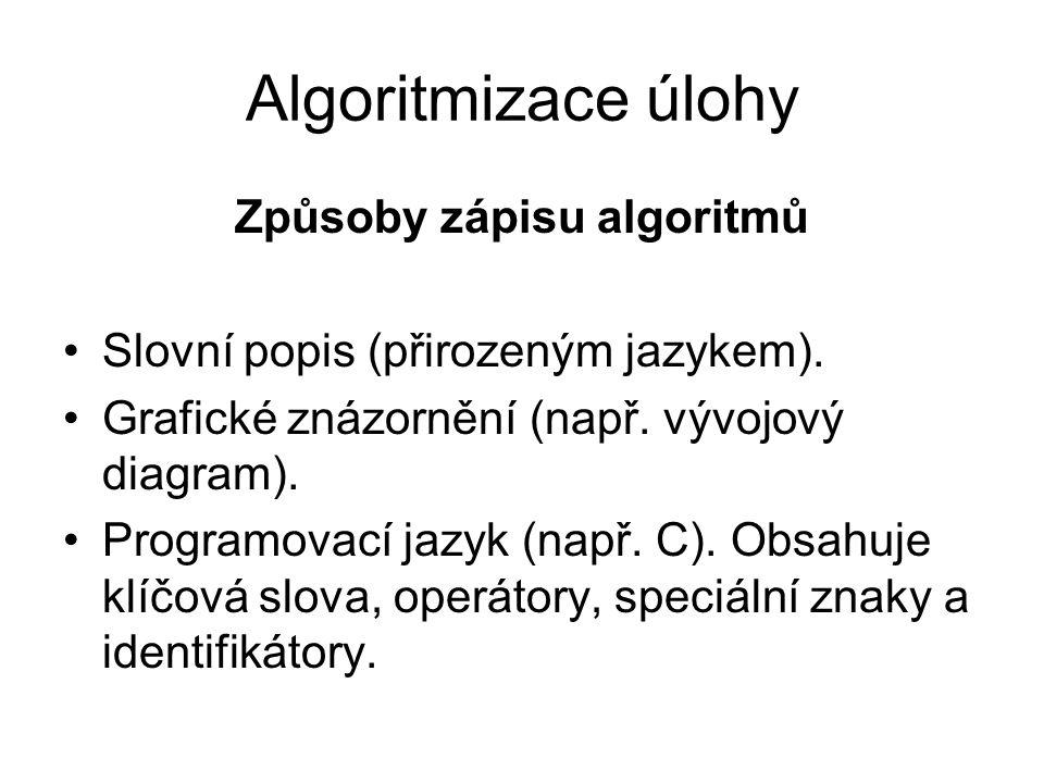 Algoritmizace úlohy Způsoby zápisu algoritmů Slovní popis (přirozeným jazykem). Grafické znázornění (např. vývojový diagram). Programovací jazyk (např
