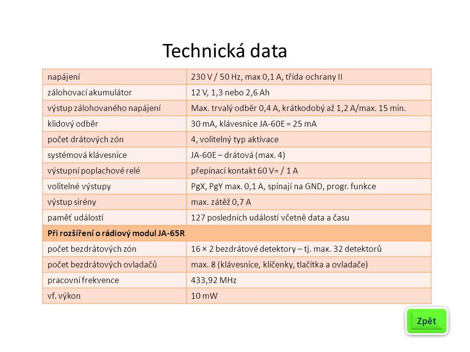 Technická data napájení230 V / 50 Hz, max 0,1 A, třída ochrany II zálohovací akumulátor12 V, 1,3 nebo 2,6 Ah výstup zálohovaného napájeníMax. trvalý o