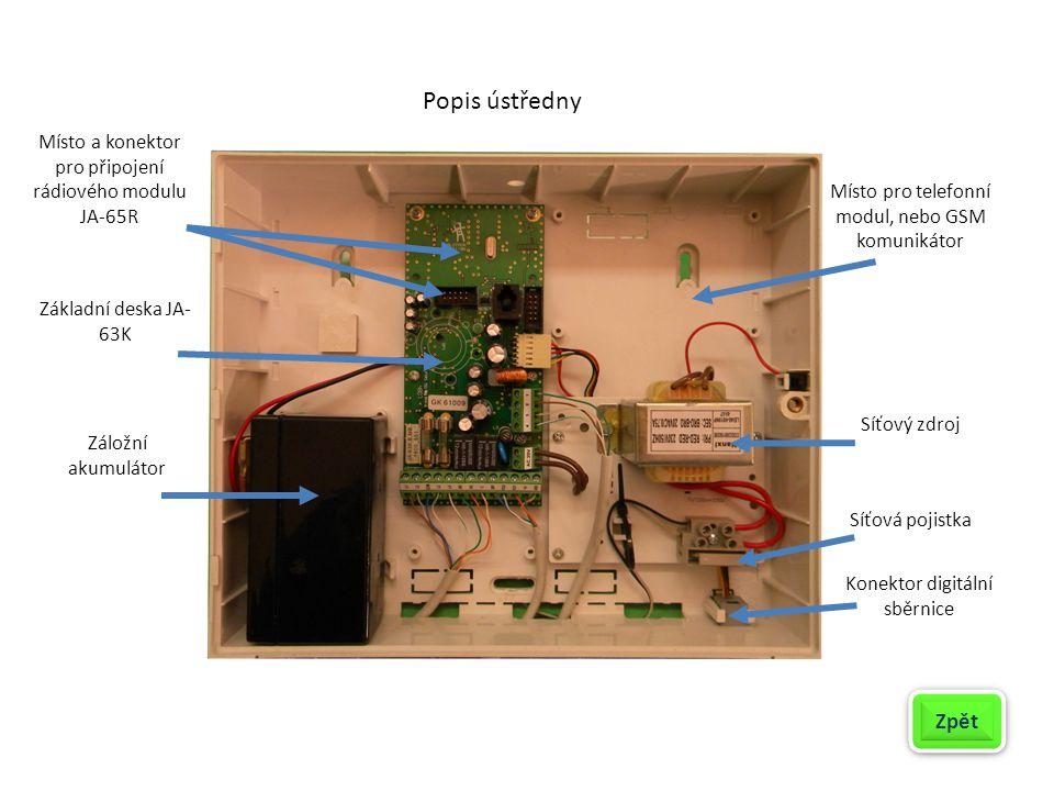 Popis ústředny Záložní akumulátor Základní deska JA- 63K Místo a konektor pro připojení rádiového modulu JA-65R Síťový zdroj Síťová pojistka Místo pro