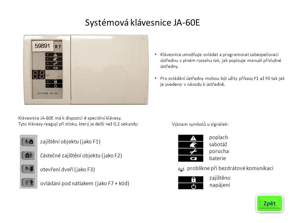 Propojení systémové klávesnice JA-60E s ústřednou JA-63K Zpět