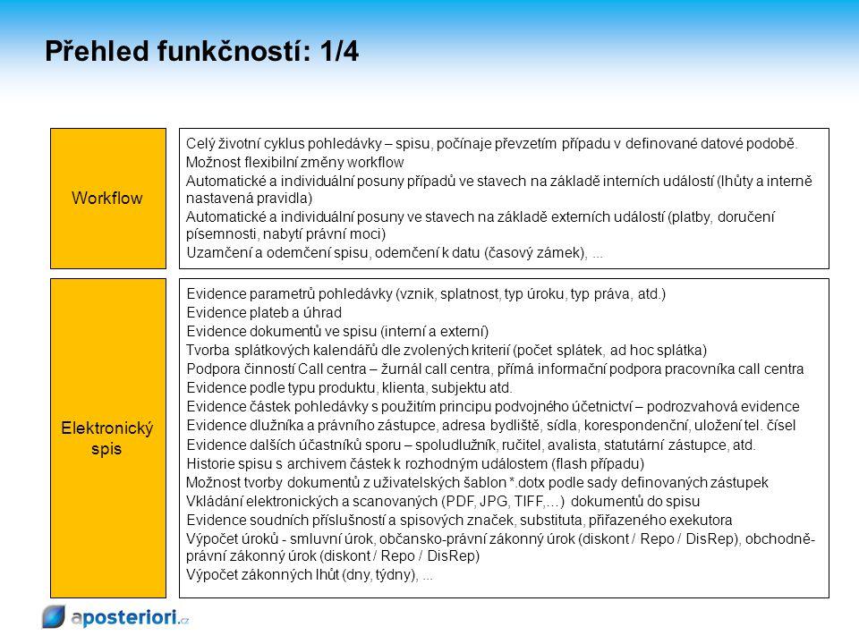 Workflow Elektronický spis Celý životní cyklus pohledávky – spisu, počínaje převzetím případu v definované datové podobě. Možnost flexibilní změny wor