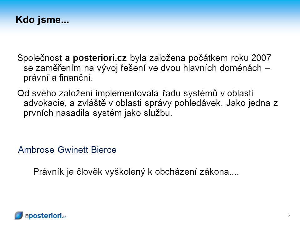 2 Kdo jsme... Společnost a posteriori.cz byla založena počátkem roku 2007 se zaměřením na vývoj řešení ve dvou hlavních doménách – právní a finanční.