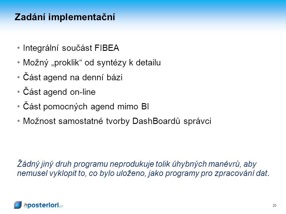 """20 Integrální součást FIBEA Možný """"proklik"""" od syntézy k detailu Část agend na denní bázi Část agend on-line Část pomocných agend mimo BI Možnost samo"""